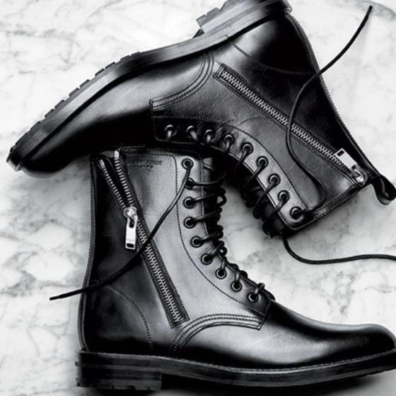 Men black Army boots, Men black military style ankle boots Men combat boot
