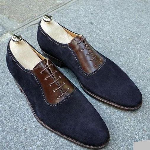 Men spectator shoes, Men Two tone formal shoes, Men brown and blue dress shoes