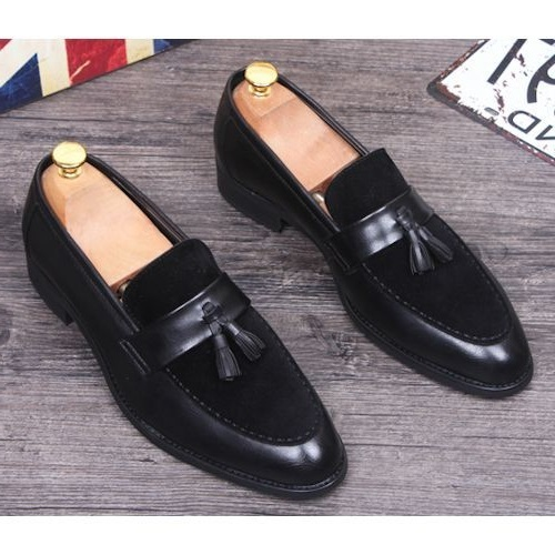 Handmade Men black Leather and Suede Tassels slip ons shoes Moccasins, Men black formal shoes