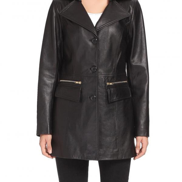 Women Black Color Genuine Lamb Skin Car Coat, Women Black Long Coat, Women leather walking coat