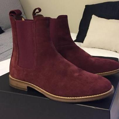 Men Burgundy Color Suede Chelsea Boots Men Classic Suede Casual Ankle Boots