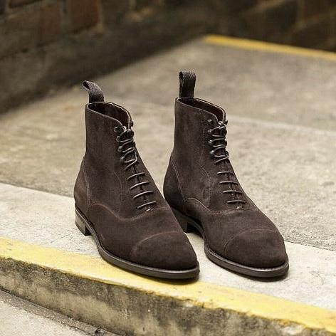 Handmade Men Coffee brown Suede ankle boots, Men cap toe ankle high dress boots