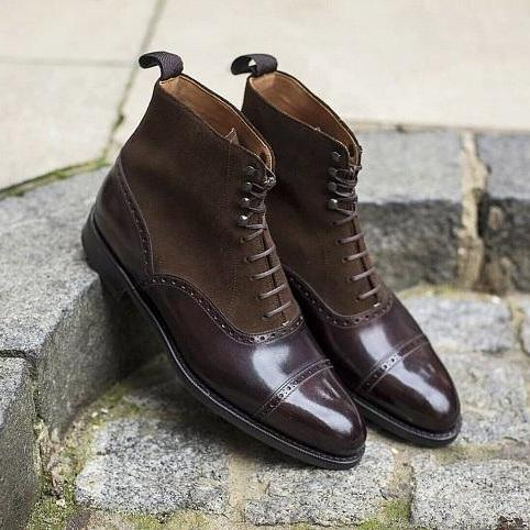 Handmade ankle high boots for mens, Men Lace up dark brown oxfords ankle boots