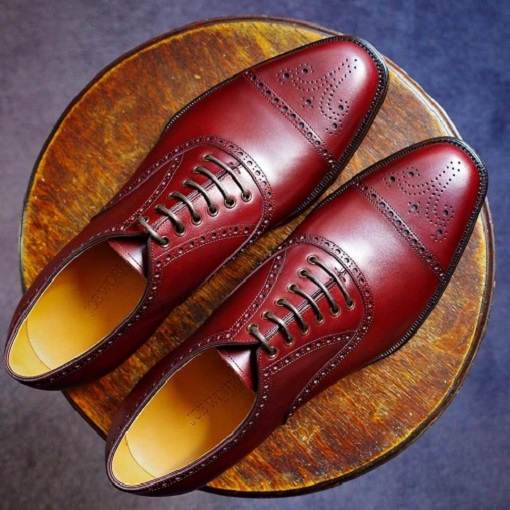 Handmade Men burgundy color Brogue lace up leather dress formal business Shoes