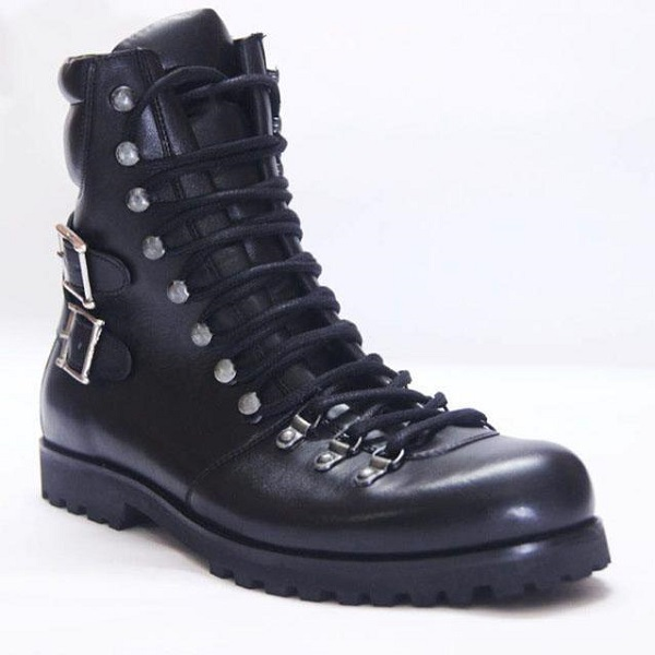 Handmade Men Black Biker Leather Boots, Men Combat Punk Style Ankle Boots