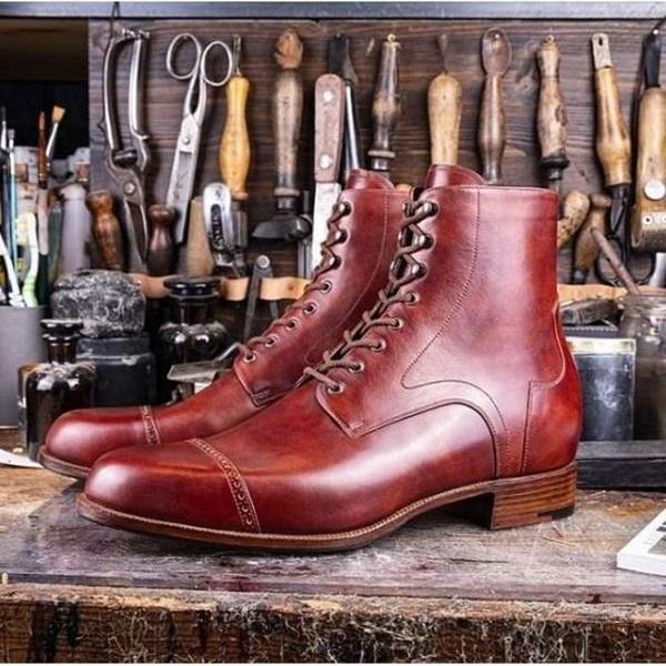 Handmade Men Brown Leather Ankle boots, Men brown Lace up dress boots