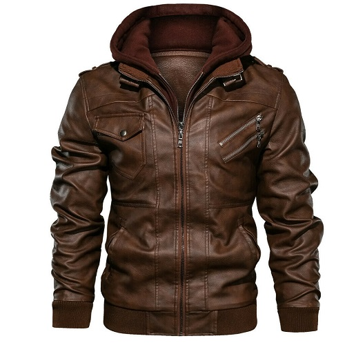 Men Antique Brown Hooded Leather Jacket Brown Biker Slim Fit Leather Jacket