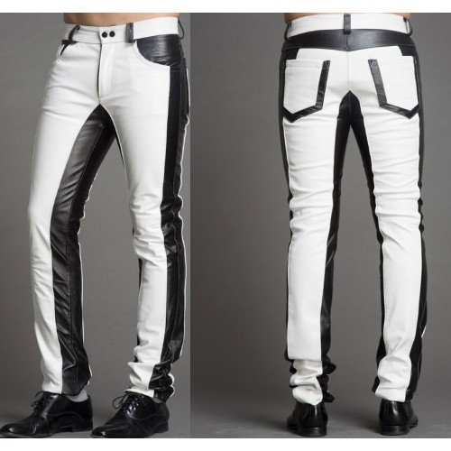 Men Two Tone Biker Leather Trouser, Men Punk Style Motorcycle Leather Jeans