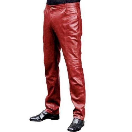 Men Red Color Leather Jeans, Men Rock Fashion Leather Pant, Men leather Jeans