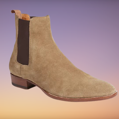 Handmade Mens Beige Suede Chelsea Boots, Men Rock Style Suede Ankle Boot
