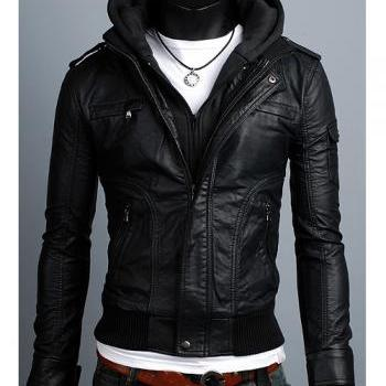 Men leather jacket, men black fabric hooded leathe