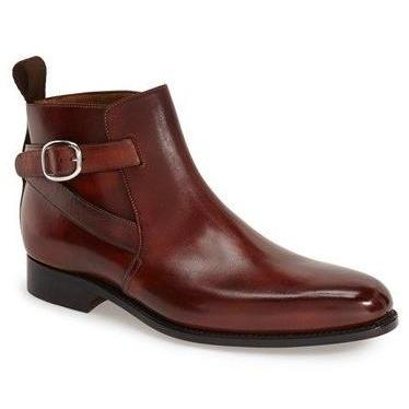 Handmade mens jodhpurs brown leather boot, Men boots, Men ankle leather boot,