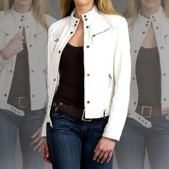 White Leather Jacket Style For Women