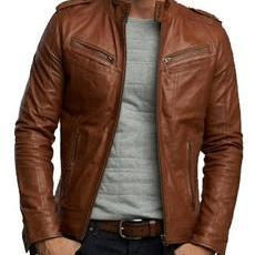 Men brown biker leather Jacket, Men biker leather Jacket brown