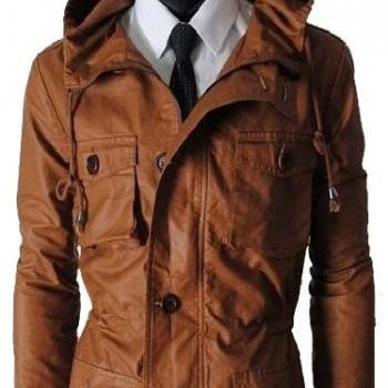 Men brown hooded leather jacket , men biker leather jacket