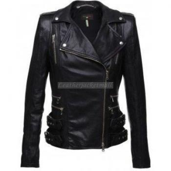 WOMEN BELTED FASHION LEATHER JACKET, WOMEN BIKER LEATHER JACKET