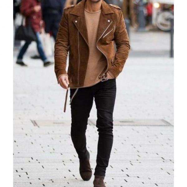 Mens Tan Brown Suede Biker Jacket, Men Brown Biker Suede Leather Jacket
