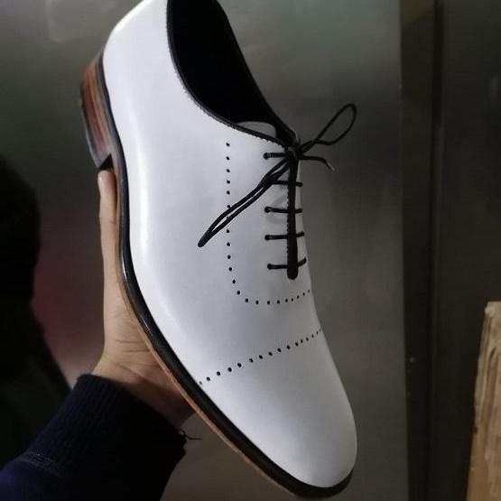 Men white leather Oxfords shoes, Men white party shoes, Men white dress shoes