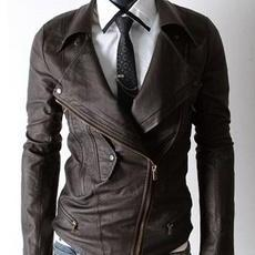 Men Latest Double Large Collar Leather Jacket, Leather jacket for men, biker leather jacket