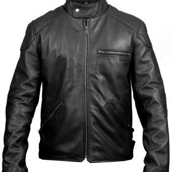 MEN BLACK LEATHER JACKET, ORIGINAL LEATHER JACKET