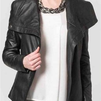 women black leather jacket, women wide collar fashion leather