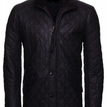 Men Classic Black Quilted Fashion Leather Biker Jacket Made With Real Leather