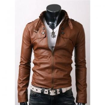 RIDER BROWN LEATHER JACKET WITH BUTTON POCKETS