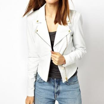WOMENS BIKER LEATHER JACKET, WHITE REAL LEATHER JACKET