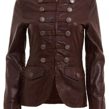 WOMENS BROWN MILITARY STYLE LEATHER BLAZER JACKET