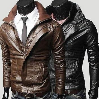 MEN'S BIKER LEATHER JACKET, BLACK LEATHER JACKET MENS, KOREAN STYLE BROWN JACKET