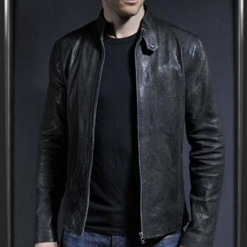MENS LEATHER JACKET, BLACK COLOR JACKET MENS, MEN REAL LEATHER JACKET, MEN'S BIKER JACKET
