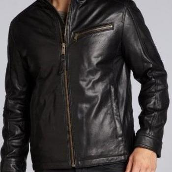 Mens Leather Jacket with stand collar, Mens leather jacket, bomber leather jacket