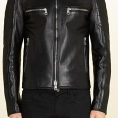 MENS MOTORCYCLE LEATHER JACKET, BLACK BIKER JACKET
