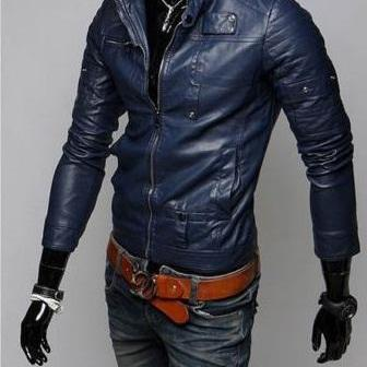 NAVY BLUE LEATHER JACKET MEN'S, SLIM FIT BIKER JACKET, MOTORCYCLE JACKET MEN