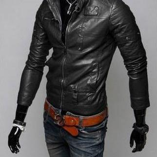 BLACK COLOR LEATHER JACKET MEN'S, SLIM FIT BIKER JACKET, MOTORCYCLE JACKET MEN