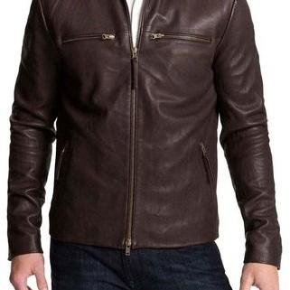 HANDMADE MENS BIKER LEATHER JACKET, MENS BROWN COLOR FASHION LEATHER JACKET
