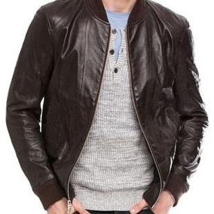 HANDMADE DARK BROWN LEATHER JACKET, MEN'S BOMBER LEATHER JACKETS