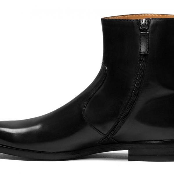 Handmade Men Leather Side Zipper Boots Mens Genuine