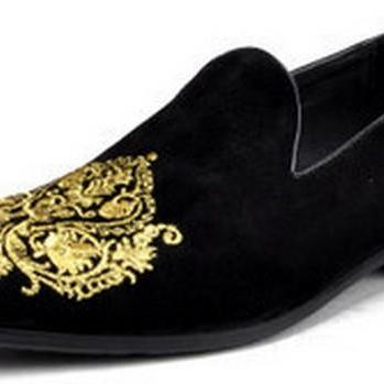 HANDMADE MEN BLACK VELVET LOAFER EMBRIEDERED SLIPPERS WITH LEATHER SOLE, MEN'S VELVET SHOES