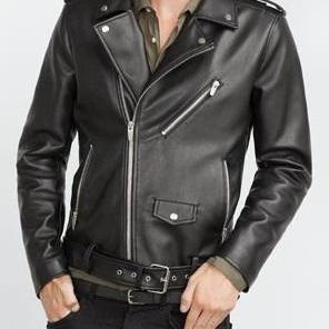 Handmade mens Black leather jacket, mens motorbike jacket, Motorcycle jacket mens