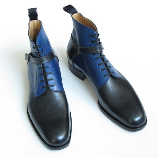 HANDMADE MEN WRAP BELTED BOOT, CHELSEA ANKLE BOOTS, MEN LEATHER BOOTS