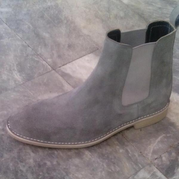 Handmade mens suede leather boots with real crepe sole, Men gray ankle genuine suede boots