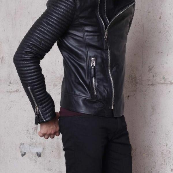 Handmade mens biker leather jacket, Men fashion rider black leather jacket