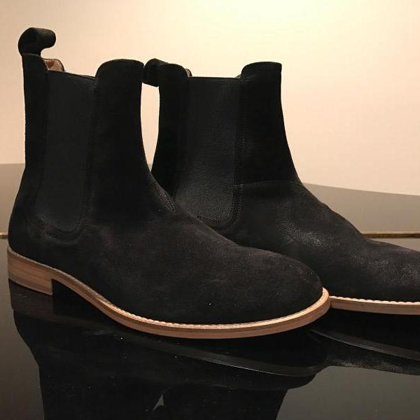 Handmade Mens black Chelsea boot, Men black suede leather boot, Men ankle boot
