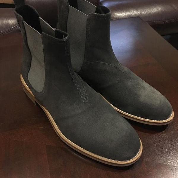 Handmade Mens dark gray Chelsea boots, Men gray suede ankle boot, Mens boot