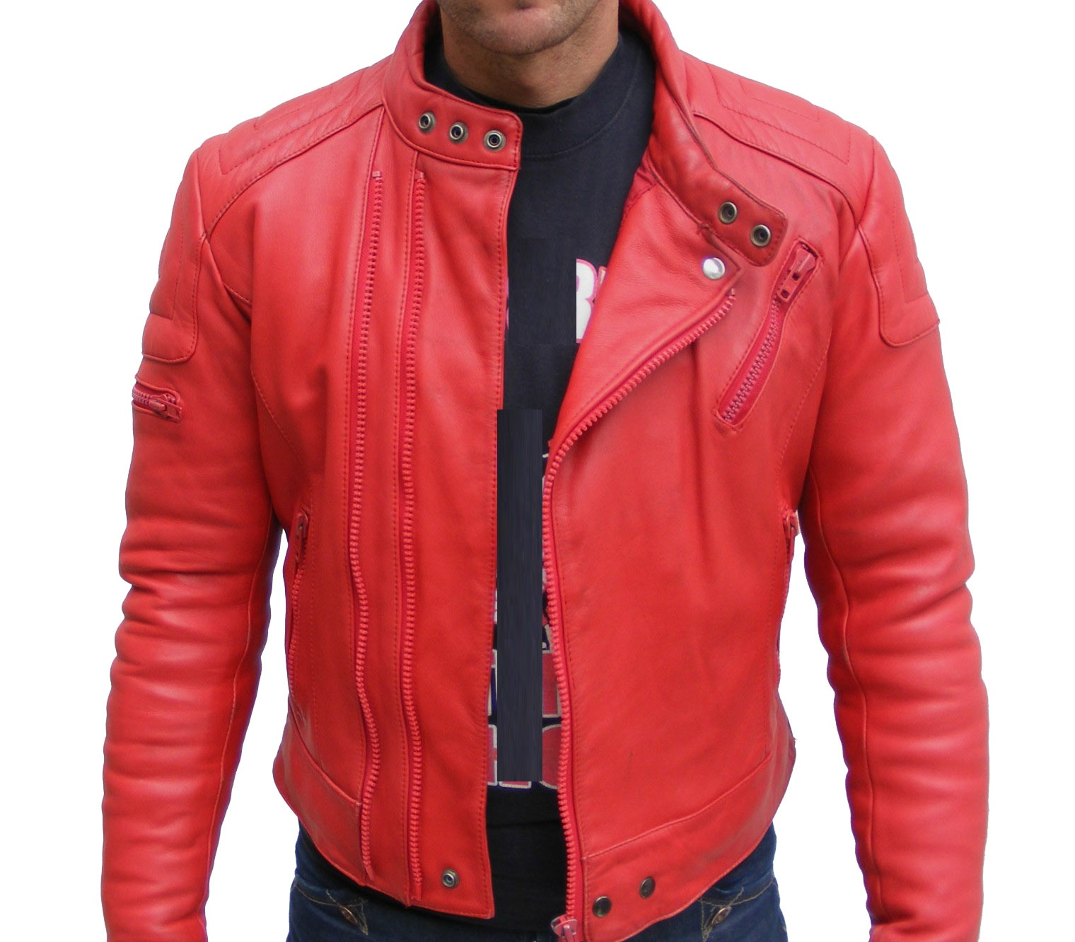 Mens red leather jackets
