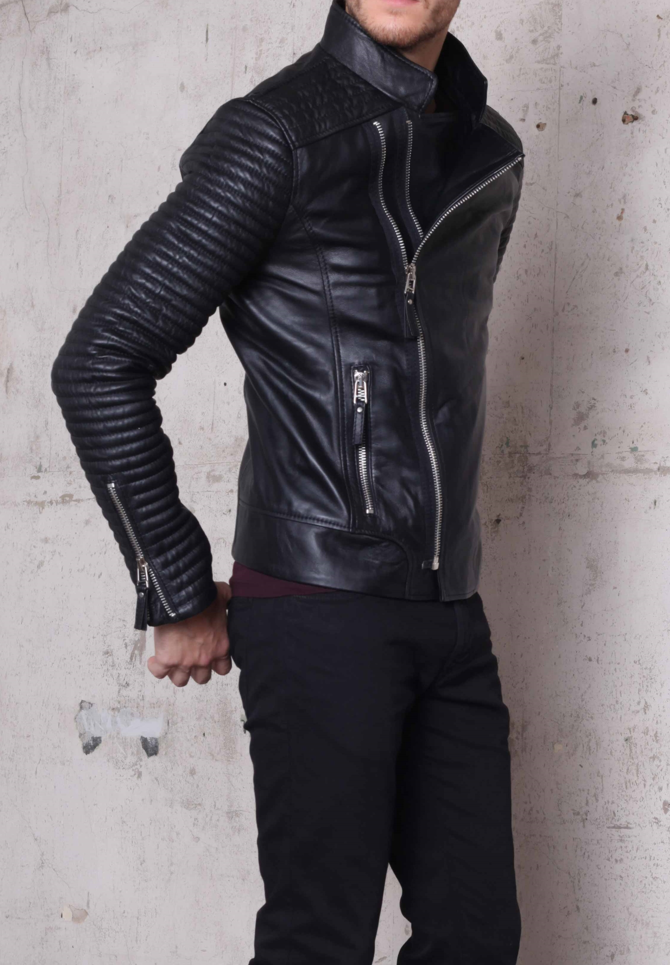 Handmade Mens Biker Leather Jacket, Men Fashion Rider Black ...